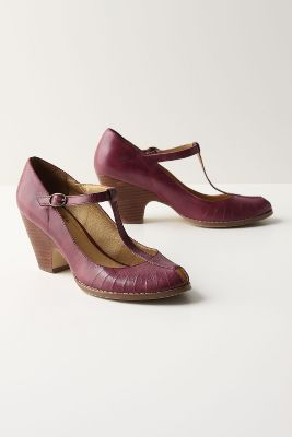 Barbera Heels - Anthropologie.com :  pumps leather t strap stacked heel