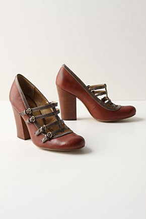 Cross Your T-Straps - Anthropologie.com :  pumps leather t strap stacked heel