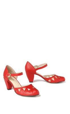Crimson Cutout Heels - Anthropologie.com :  midheel round toe traingle heels