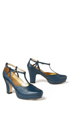 Wee-Hours Platforms - Anthropologie.com :  blue platform pumps leather