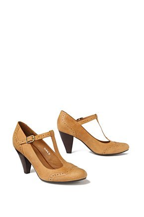 Wingtip T-Straps - Anthropologie.com :  pumps neutral leather t strap
