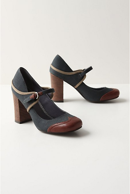 Men's Club Heels - Anthropologie.com :  maryjanes heels brown canvas