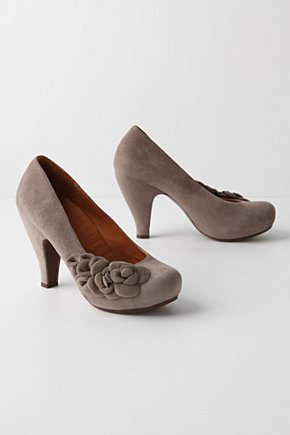 Stacked Smoke Heels - Anthropologie.com :  pumps grey shoes heels