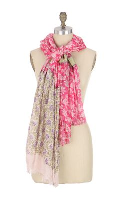 Vine & Bloom Scarf - Anthropologie.com :  mixed print green scarf needlework