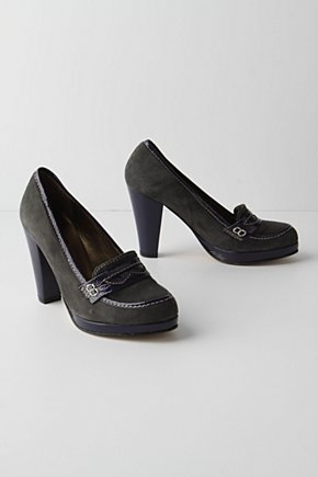 Lifted Loafers - Anthropologie.com :  penny loafers heels grey patent