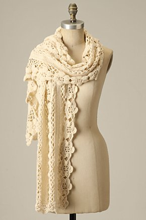 Crocheted Aster Scarf - Anthropologie.com :  floral wool blend crochet scarf
