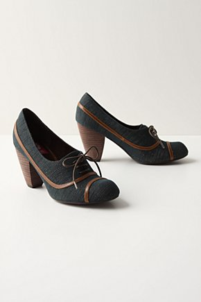 Moored Oxfords - Anthropologie.com :  piping lace up cone heel metallic