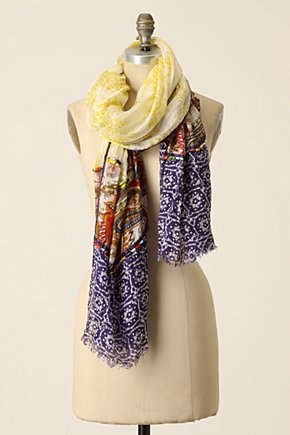 Separations Scarf - Anthropologie.com :  ikat silk colorful wooden beads