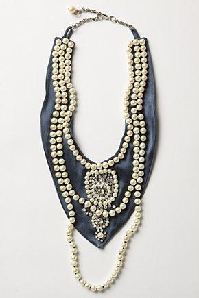 Dressed-Down Bib Necklace-Anthropologie :  necklace brass bib glass
