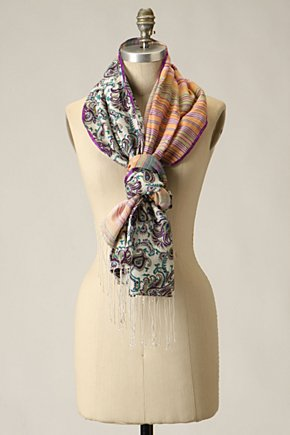 Duality Scarf - Anthropologie.com :  mixed prints yellow scarf orange