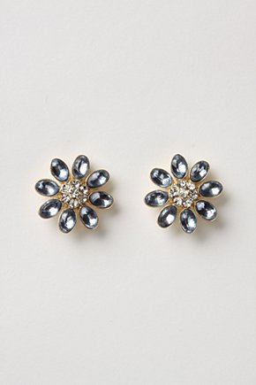 Starlit Stem Earrings - Anthropologie.com :  flower blue fashion studs