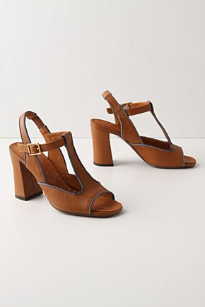 Dungaree T-Straps-Anthropologie.com :  piping leather umber denim