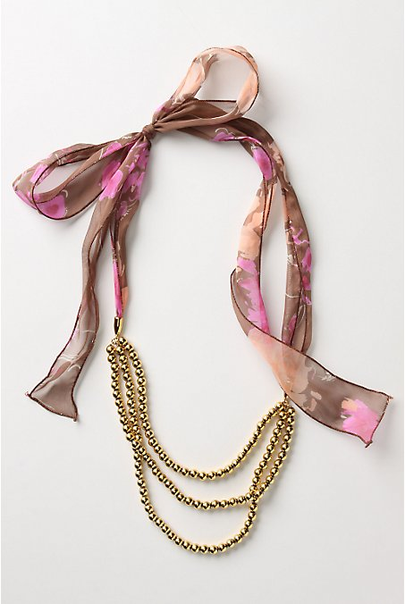 Golden Festoon Necklace - Anthropologie.com :  necklace chiffon gold gold necklace