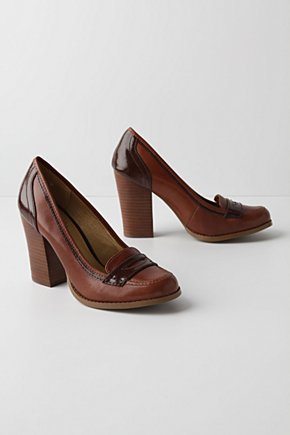 Farmington Heels - Anthropologie.com :  preppy leather chunky heel heels