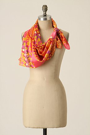 Aurorae Scarf - Anthropologie.com :  pink silk cheery swirly