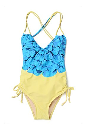 Azure Chrysanthemum Maillot - Anthropologie.com :  swim summer
