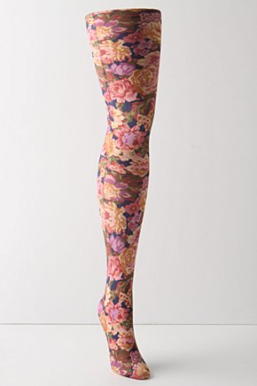 Florafall Tights - Anthropologie.com :  pink nylon rose print lavender