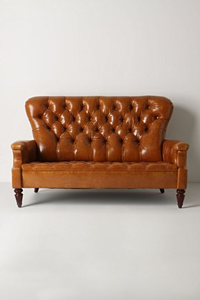 Battersea Sofette, Toffee Leather-Anthropologie