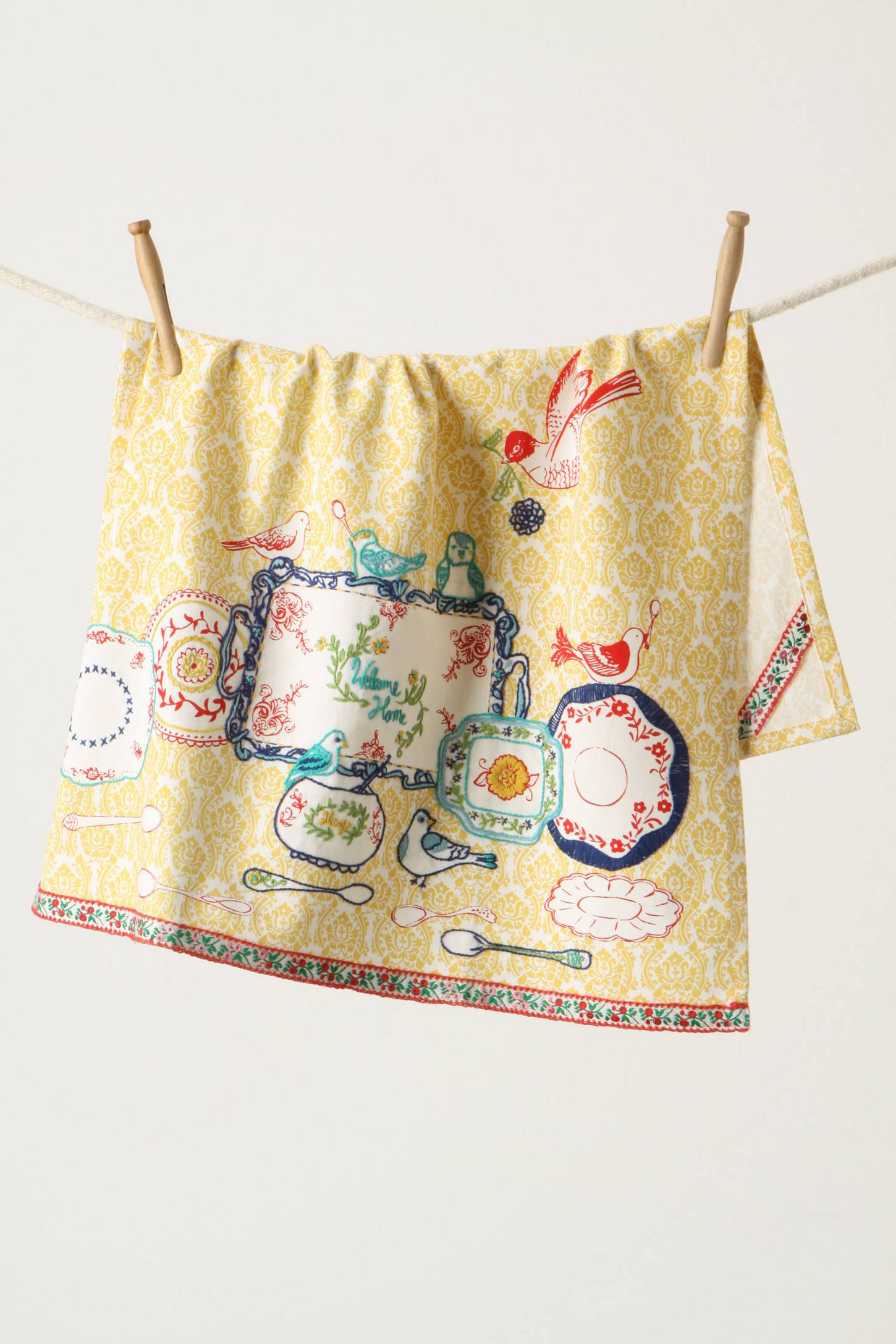 Bon I Love The Vintage Style Of This Chirps And Chats Anthropologie Cotton Dish  Towel