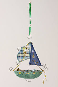 Pirate Ship Ornament, Blue