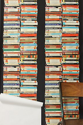 Stacked Paperback Wallpaper - Anthropologie.com :  wallpaper home decor crafts diy