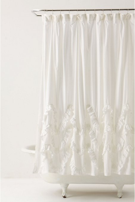 name 5 things ruffled white shower curtain