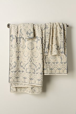Slate Damask Towels - Anthropologie :  anthropologie towels floral pattern damask
