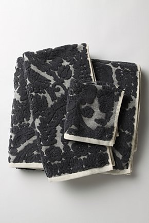 Charcoal Damask Towels  - Anthropologie :  damask towels charcoal anthropologie