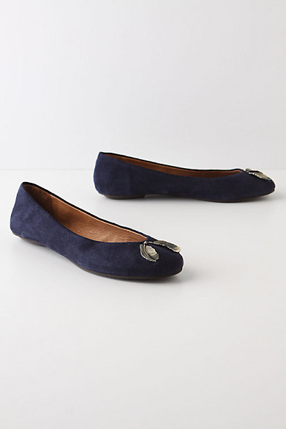 Trinket Flats - Anthropologie.com :  metal accents suede skimmers charms