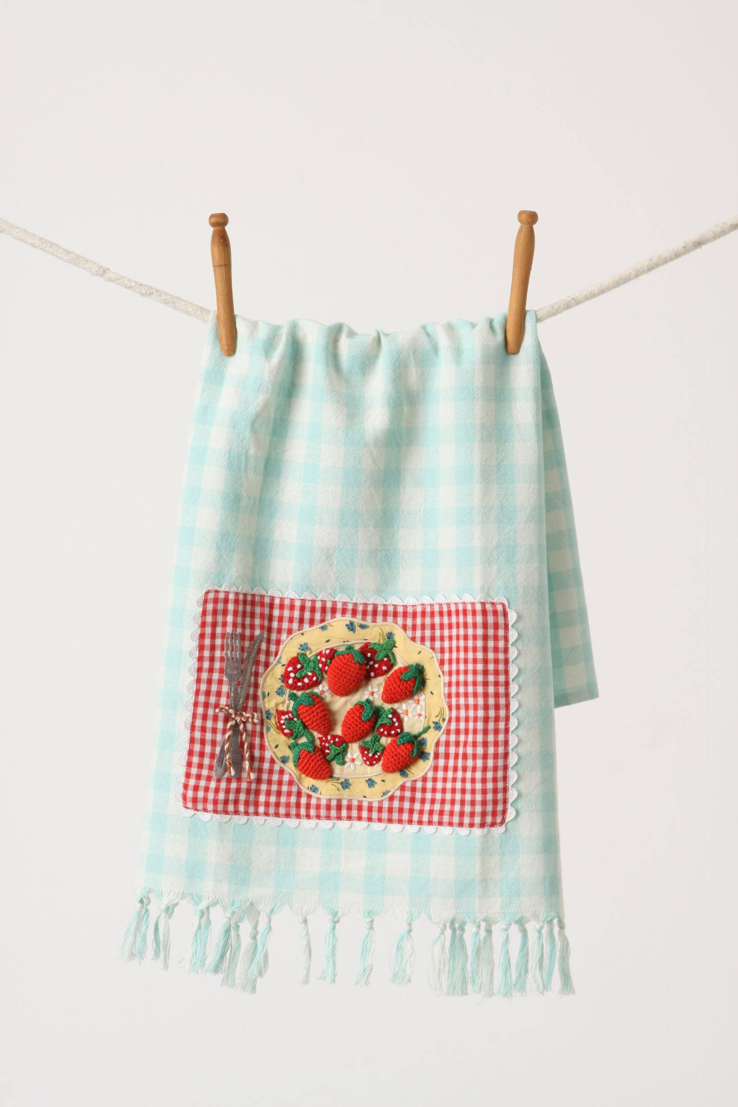 First Eats Tea Towel, Strawberry & Blooms