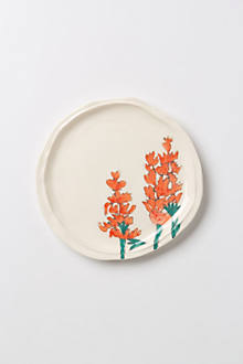 Palette-Sketch Red Flowers Dessert Plate