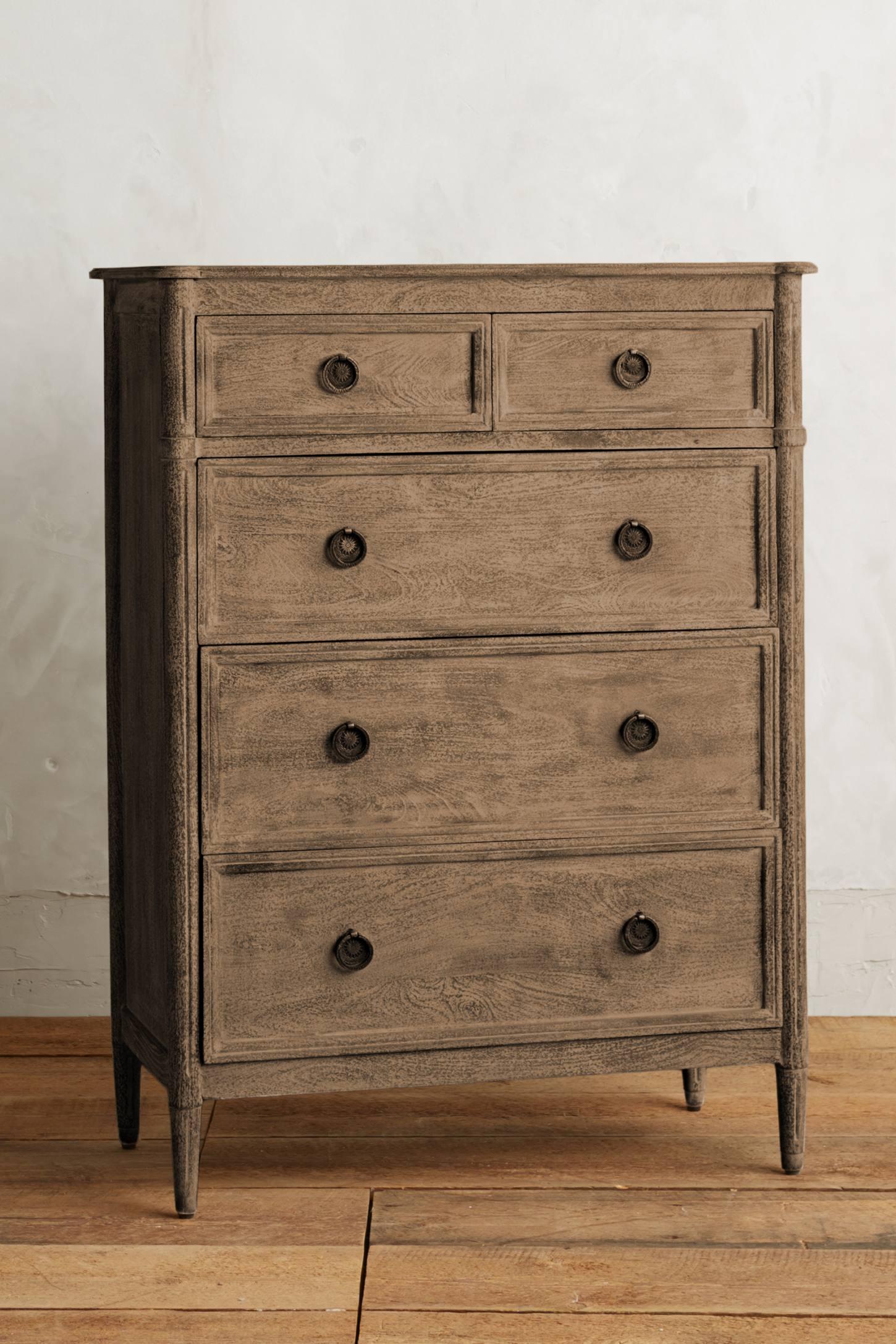 Washed Wood Five-Drawer Dresser