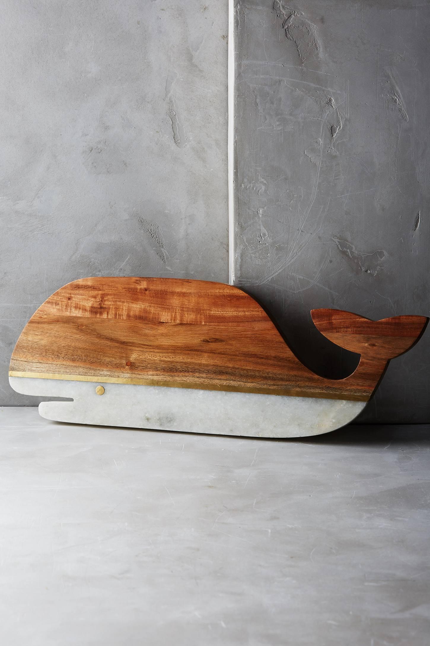 Marble & Acacia Whale Cheese Board