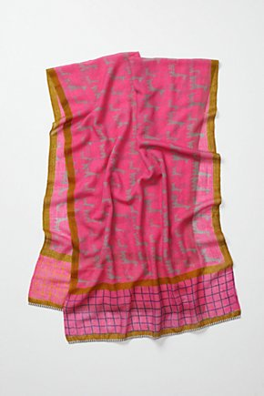 Bordered Bars Scarf, Pink - Anthropologie.com
