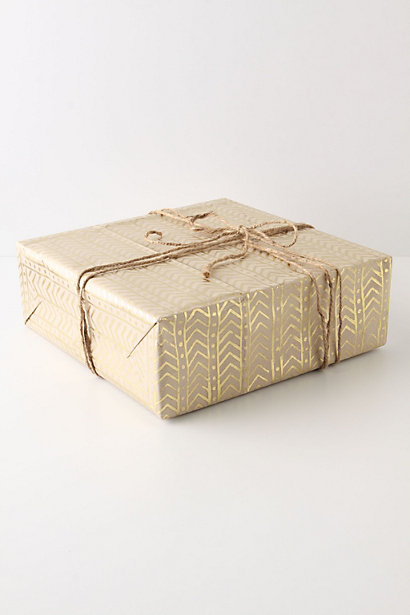 Kraft paper wrapping embellished with metallic markers, inspired by Anthropologie