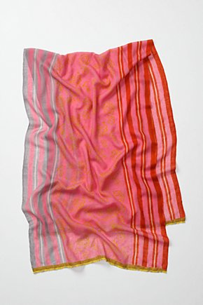 Bordered Bars Scarf, Rose - Anthropologie.com :  wool stripes colorful scarf