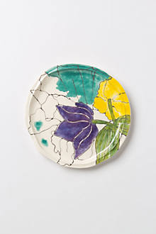 Palette-Sketch Purple Flower Dessert Plate