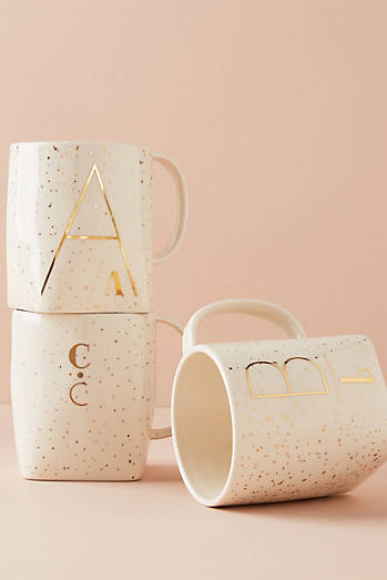 Gilded Shapes Monogram Mug