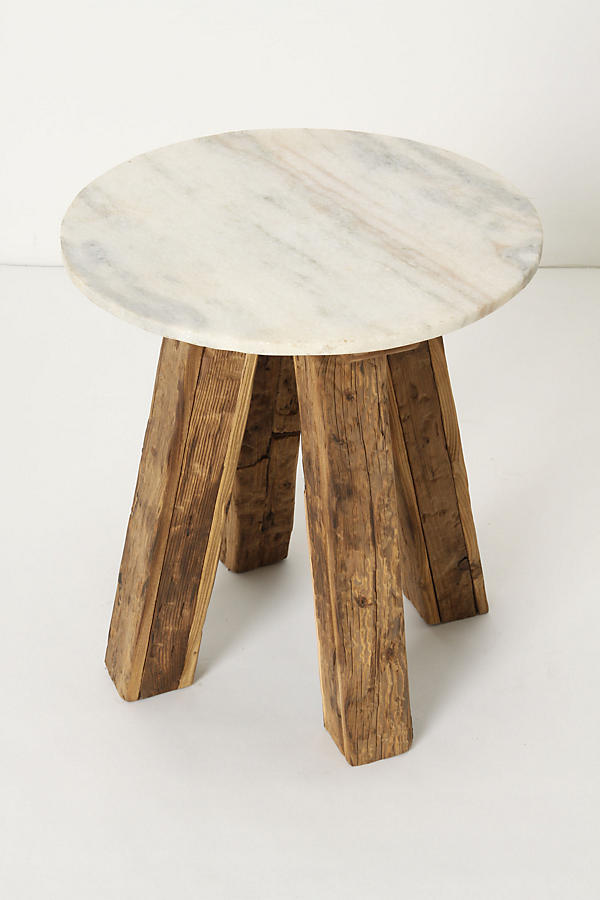 Slide View: 4: Marble-Top Side Table