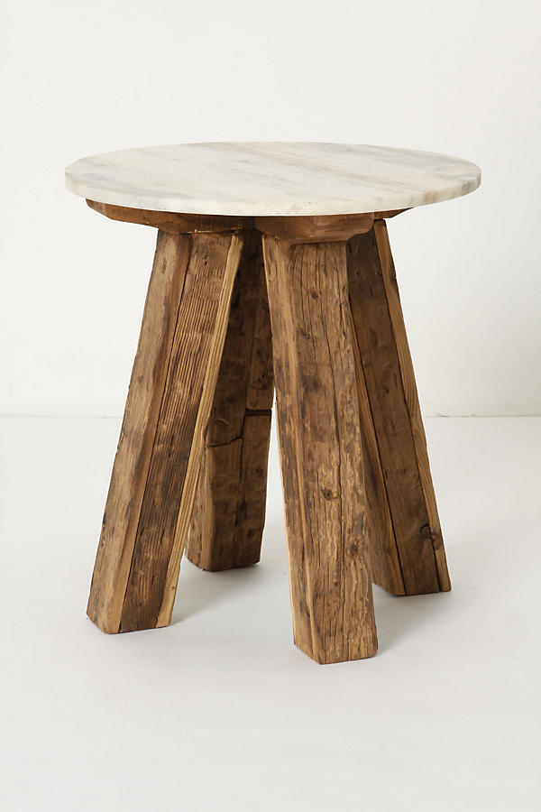 Slide View: 1: Marble-Top Side Table