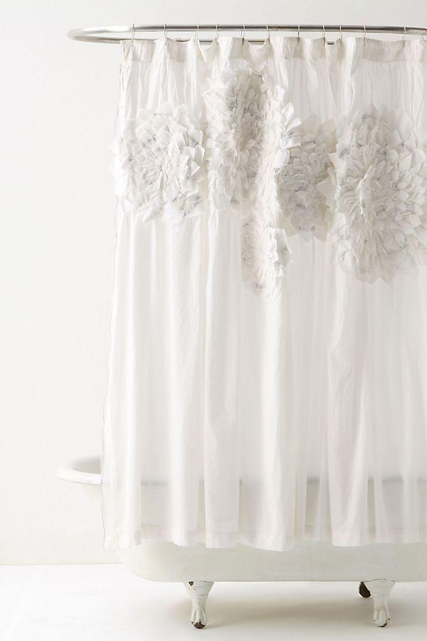 Sculpted Mums Shower Curtain | Anthropologie on kelly wearstler bathroom design, houzz bathroom design, ikea bathroom design, waterworks bathroom design,