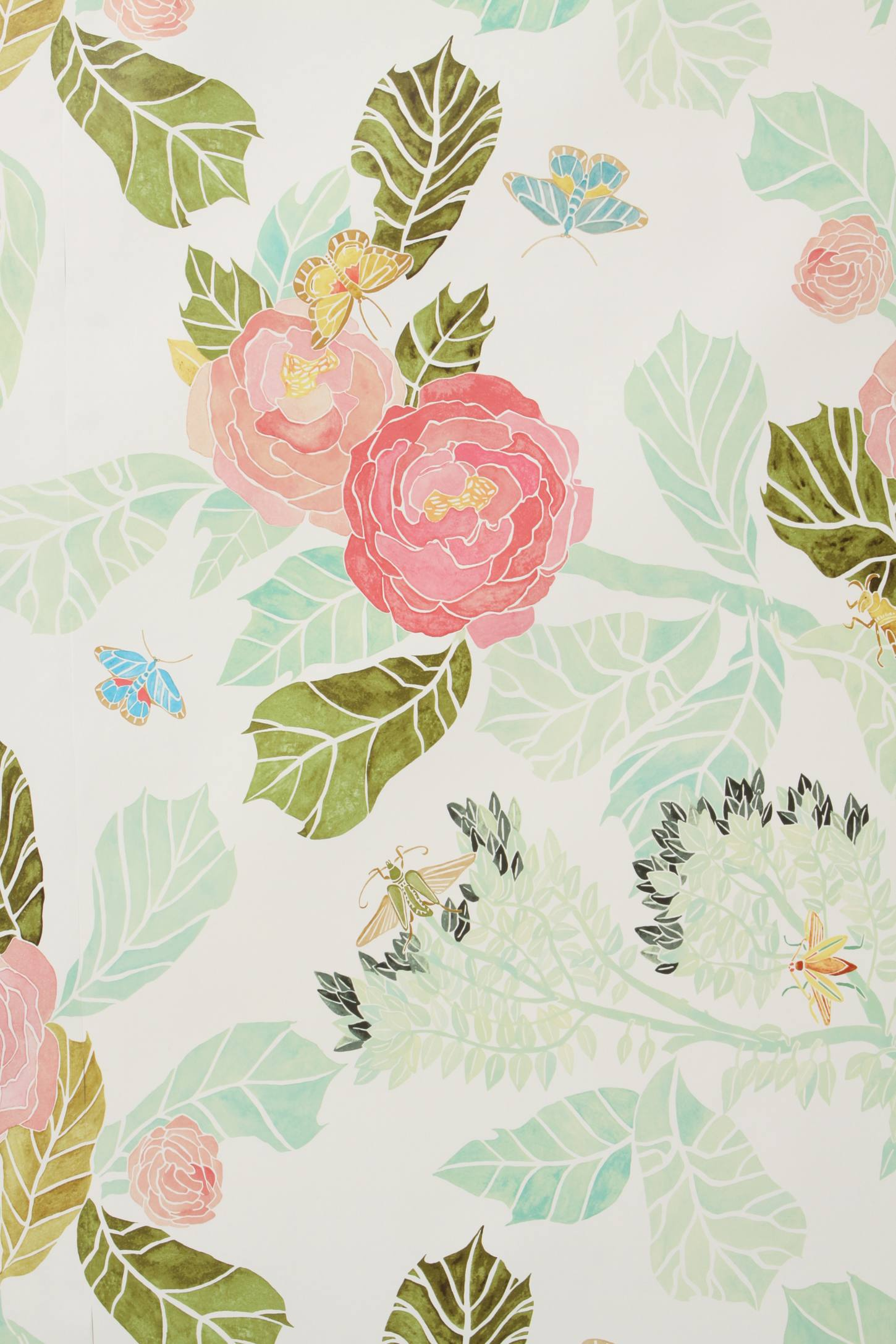 watercolor flora wallpaper anthropologie