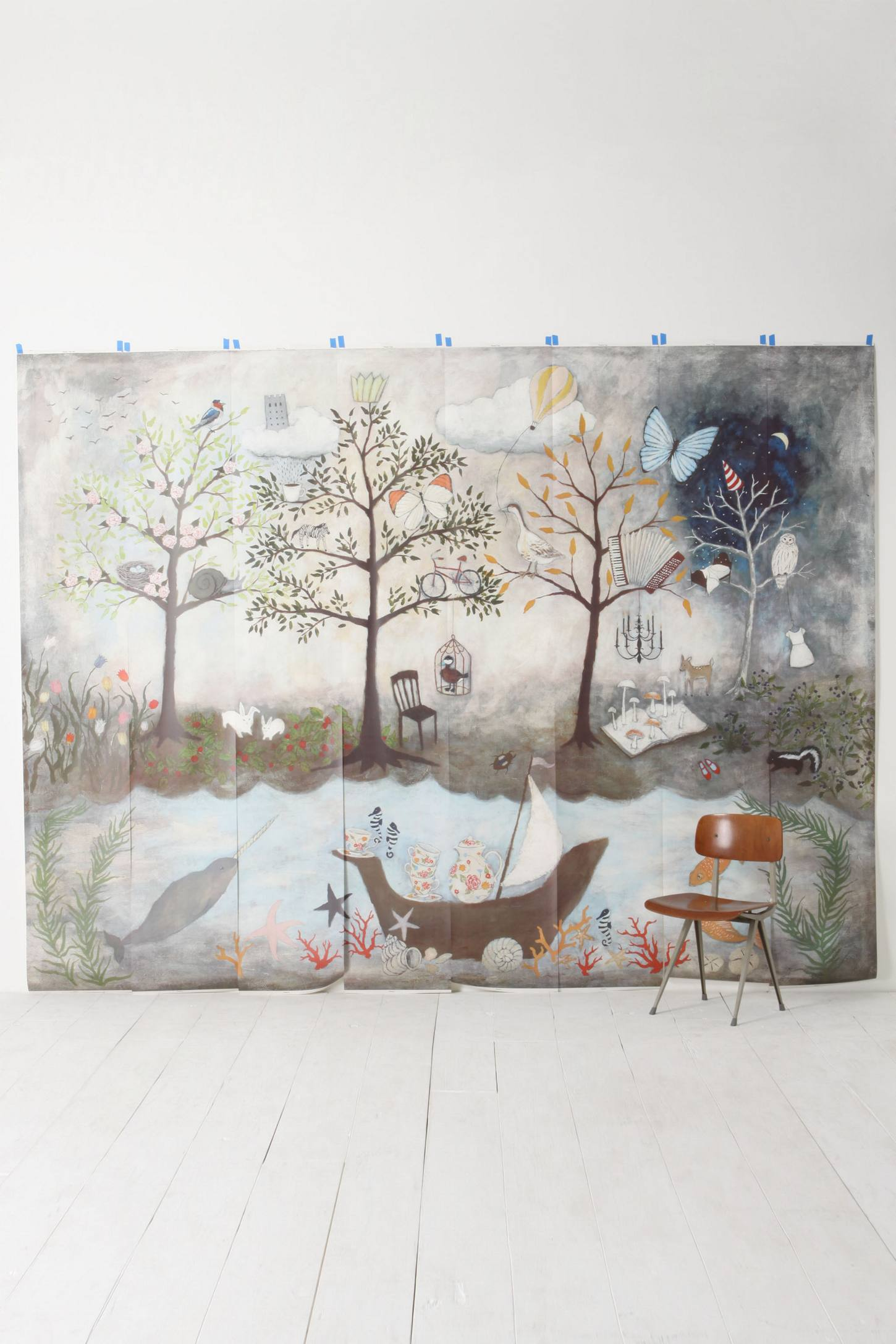 Enchanted forest mural anthropologie for Anthropologie mural
