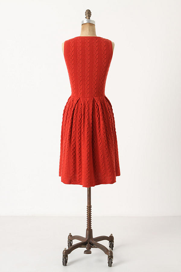 Slide View: 2: Flared & Cabled Sweater Dress