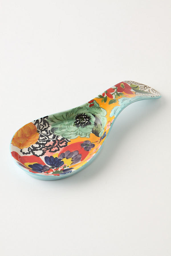 Slide View: 1: Painted Amaryllis Spoon Rest