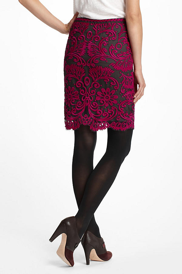 Slide View: 2: Embroidered Lace Pencil Skirt