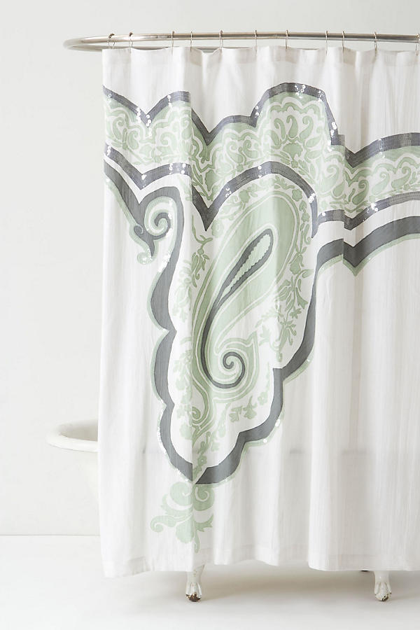 Slide View: 1: Splashed Paisley Shower Curtain