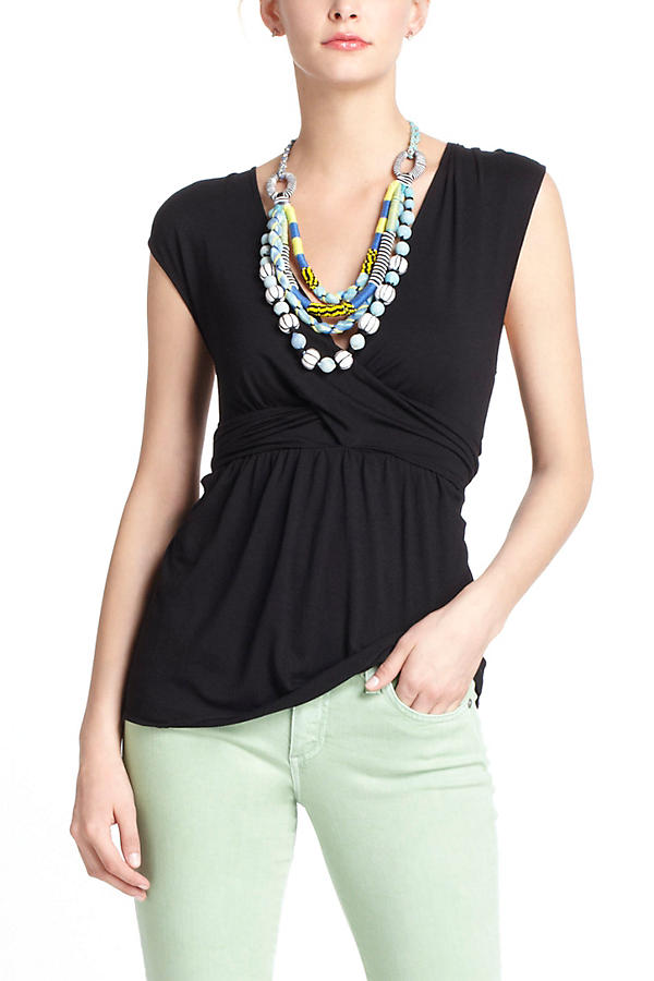 Draped Peplum V-Neck