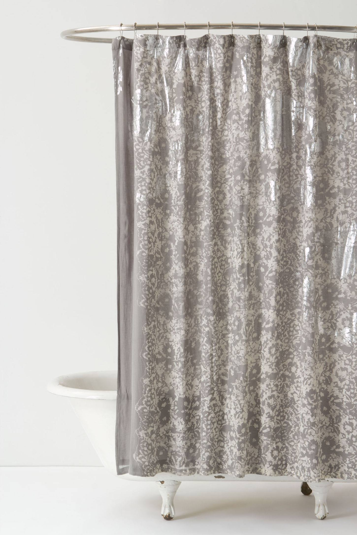 Silver-Burnished Shower Curtain