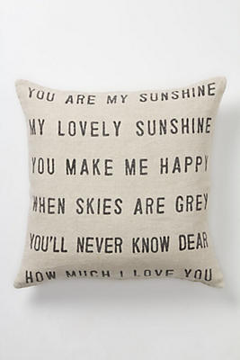 You Are My Sunshine Pillow Anthropologie